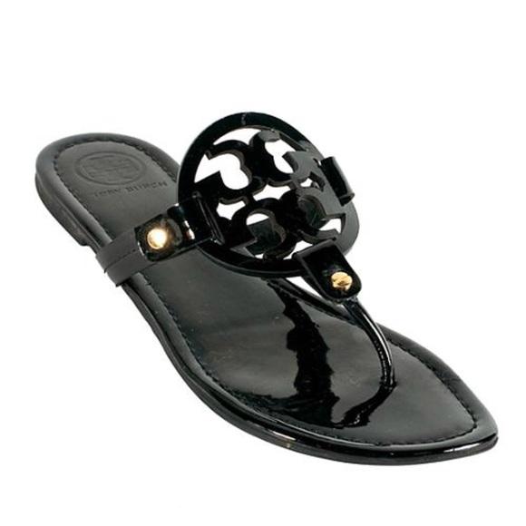 2407927a3d50 Tory Burch Black Patent Miller Sandals. M 5aa0da9e331627ec8db740b3